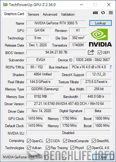 EVGA GeForce RTX 3060 Ti FTW3 ULTRA GAMING GPU-Z